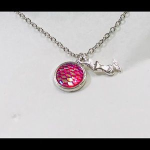Round Pink Mermaid Scale necklace
